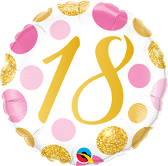 18 Pink & Gold Dots Foil Balloon - 46cm