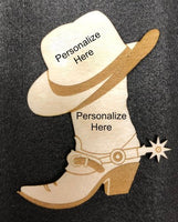 "Cowboy Boot and Hat Magnet ""Personalized"""