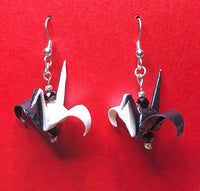 Yin and Yang Black and White Origami Crane earrings