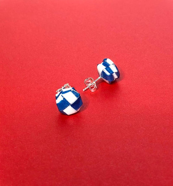 Multi layered Paper Woven Octagonal Dark Blue And White Stud Earrings