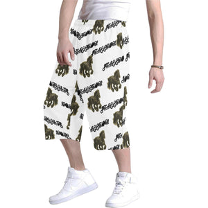 Stallion Clothing for men baggy short, white with word stallion & stallion image repeating all over