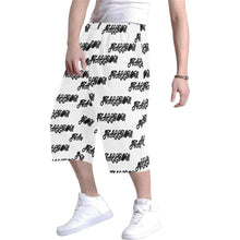 Load image into Gallery viewer, stallion clothing for men baggy short white with black repeating word stallion all over