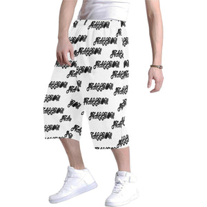 stallion clothing for men baggy short white with black repeating word stallion all over