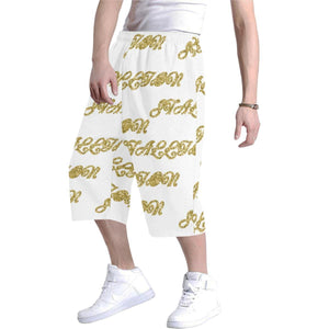 stallion clothing baggy short in white with yellow/gold word stallion repeating all over
