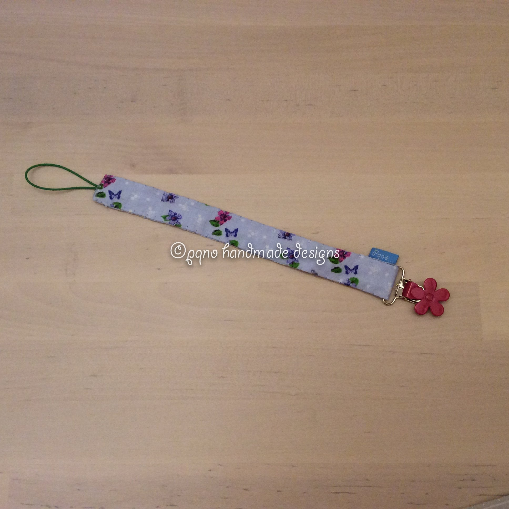 Chupetero flores & mariposas - Cinta flors & papallones - Flowers & butterflies strap - Blomster & sommerfugler stropp