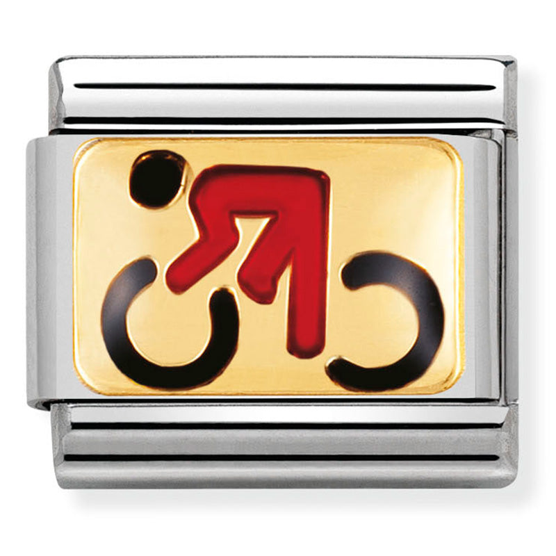 Nomination Cycling Gold Enamel Charm