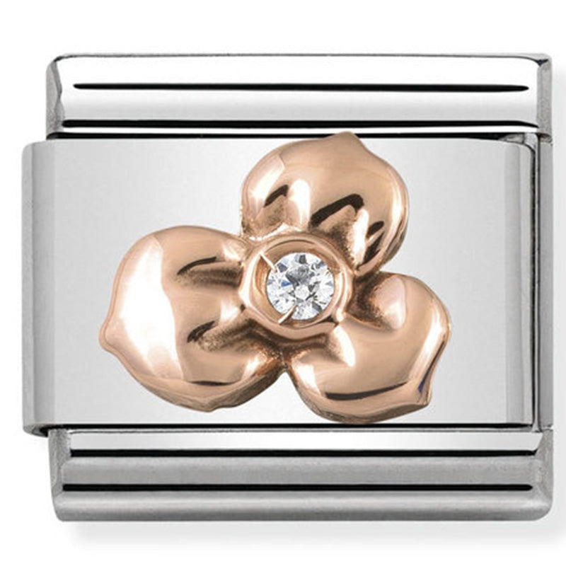 Nomination Flower with White CZ Rose Gold Charm