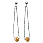 Scintillating Silver and Gold Dangle Bead Earrings (see matching Necklace IN013)