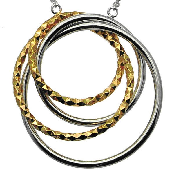 Interlocking Silver and Gold Quad Circle Pendant (see matching earrings AE094)