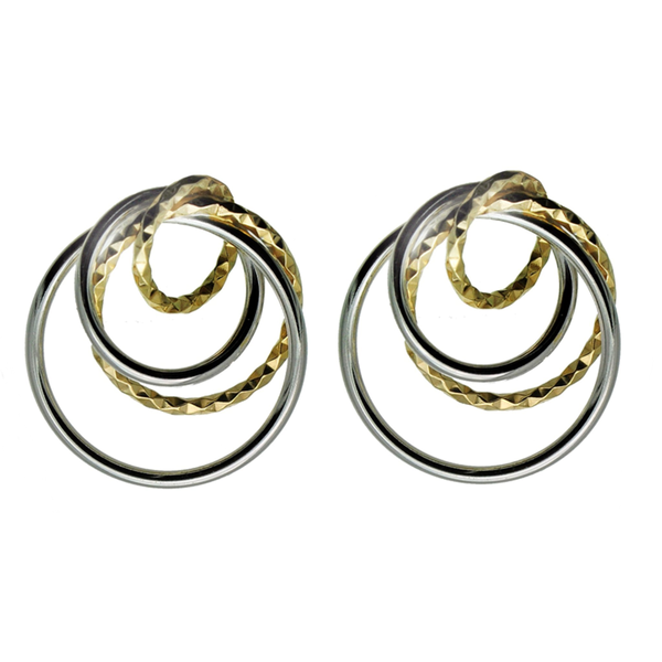 Quad Circle Silver and Gold  Earrings (see matching Pendant AN094)