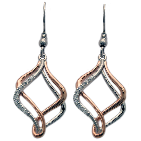 Modern Silver and Gold Dangle Earrings (see matching Pendant JP401)