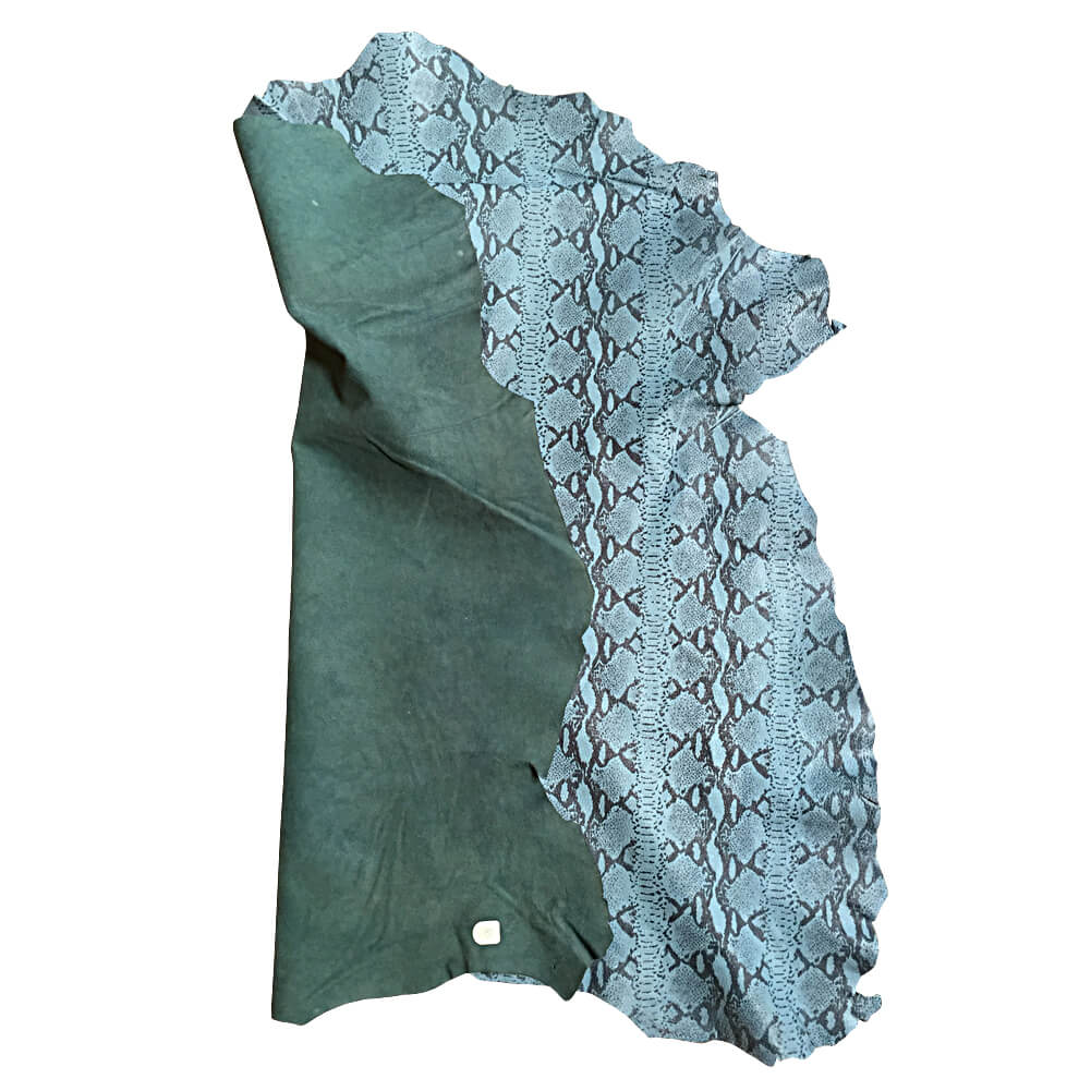 Blue Snakeskin Printed Genuine Lambskin Hides Great for Crafting and DIY Projects