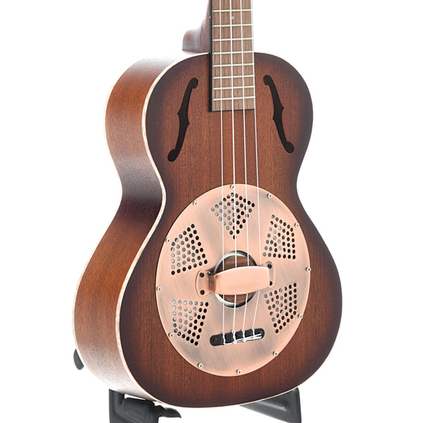 Kala Tenor Mahogany Burst Resonator Ukulele with Vintage Brass Coverplate
