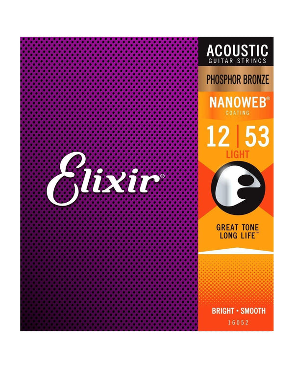 Elixir 16052 Phosphor Bronze Nanoweb Light 6-String Acoustic Guitar Strings