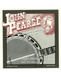 John Pearse 1710LM 80/20 Bell Bronze Extra Long Light/Medium 5-String Banjo Strings