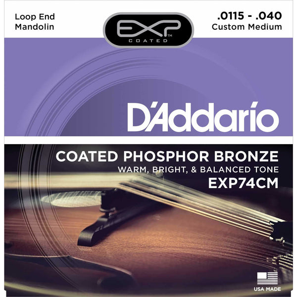 D'Addario EXP74CM Exp Coated Phosphor Bronze Custom Medium Gauge Mandolin Strings