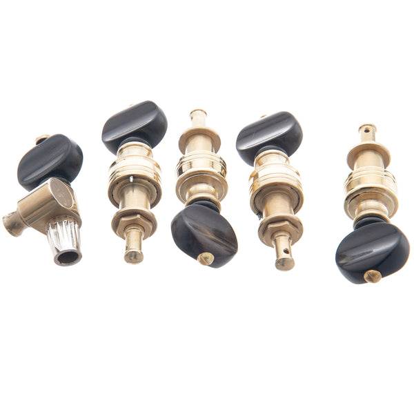 Rickard Cyclone High Ratio Banjo Tuners, Polished Brass, Ebony Button, Set  of 5
