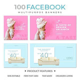 100 - Facebook Multipurpose Banners 4.00 watercolor action