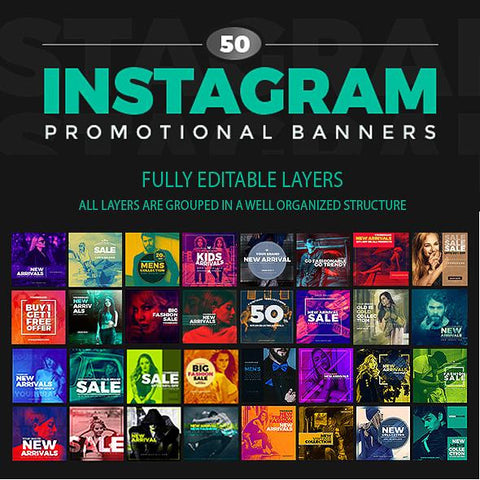 50 - Duotone Instagram Banners 4.00 watercolor action