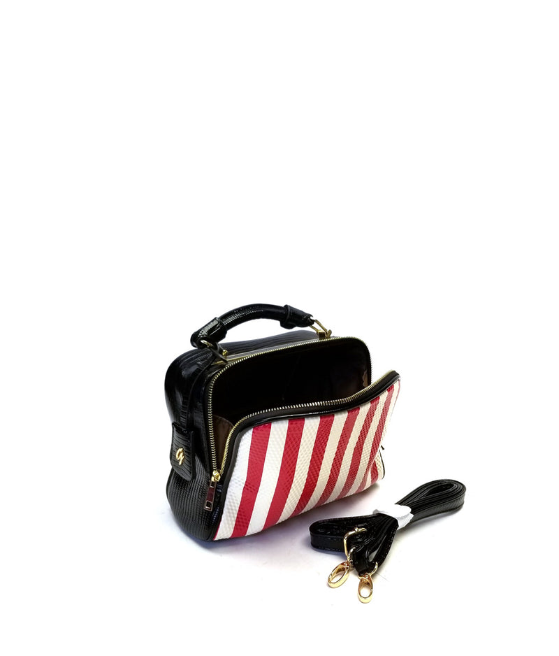 LADY ZIP TOP CLOSURE STRIPE PATTERN TOP HANDLE