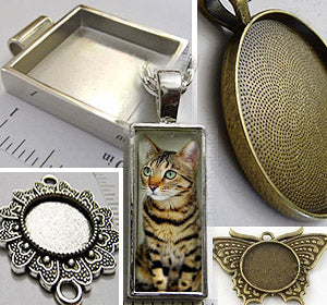 Blank Pendant Tray Settings for DIY Jewelry Making