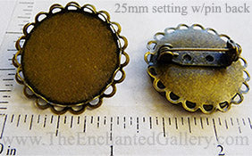 25mm Circle Pin Back Tray Two Layer Scallop Lace Edge Brooch Bronze (Select Optional Insert)