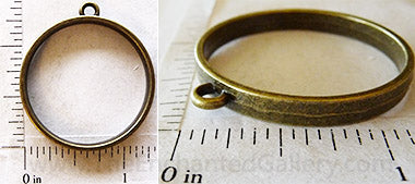 Open Back Thin Ring Frame 30x4mm Bronzetone