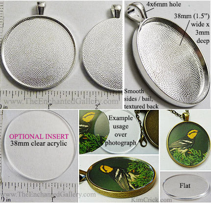 38x38x3mm Circle Textured Silvertone Pendant Tray (Cover Insert Optional)