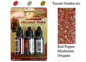 Alcohol Ink 3 Pack Tuscan Garden Set - Red Pepper, Mushroom, Oregano