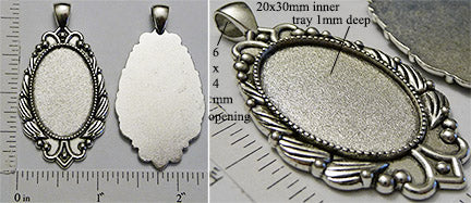 20x30mm Oval Pendant Tray Art Deco Petal Wave Border Antiqued Silver (Select Amount or Optional Insert)