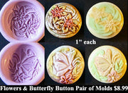 Flexible Push Mold Set Flowers and Butterfly Carving Buttons Pair