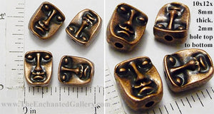 Face Head Beads Reversible 10x12x8mm Coppertone