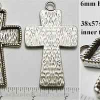 38x57x3mm Cross Ornament New Angled Style Pendant Tray Antiqued Silvertone