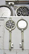 20mm Circle Pendant Tray Crystalline Snowflake Key Antiqued Silver (Select Optional Insert)