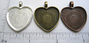 25mm Heart Pendant Tray Textured (Select Optional Insert)