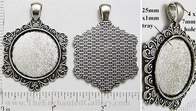 25mm Circle Pendant Tray Hexagon Snowflake Heartscroll Border Antiqued Silver (Select Optional Insert)