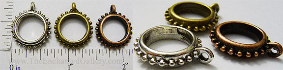 Open Back Hobnail Studded Ring Round Hangers 12mm