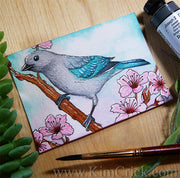 Blue-Gray Tanager Watercolor Painting Daniel Smith Joseph Z's Cool Grey New 2019 color art