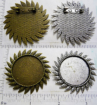 30mm Circle Pendant Tray Leaf Spray Brooch with Pin Back (Select Color or Optional Insert)