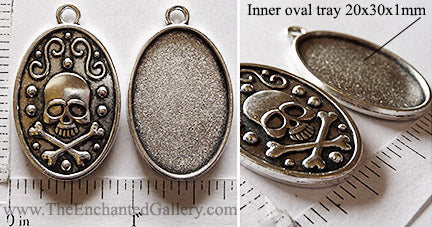 20x30mm Oval Pendant Tray Skull Crossbones Design Back Antiqued Silver (Select Amount or Optional Insert)