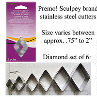 Diamond Shape Cookie Cutters by Premo Sculpey 6 Piece Set