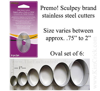 Oval Shape Cookie Cutters by Premo Sculpey 6 Piece Set