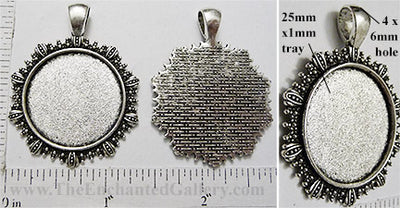 25mm Circle Pendant Tray Radiant Starlight Border Antiqued Silver (Select Optional Insert)