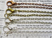 "24"" Thin style rolo chain necklace pendant jewelry making supplies delicate loops"