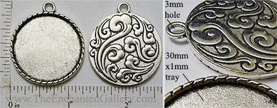 30mm Circle Pendant Tray Wind Water Orient Back Antiqued Silver (Select Amount or Optional Insert)