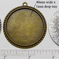 40mm XL Circle Dotted Edge Rings Textured Back Pendant Tray (Select a Color)