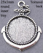 25mm Circle Pendant Tray Anchor Solid Front with Textured Back (Select Optional Insert)