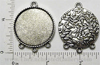 30mm Circle Pendant Tray Fern Leaf Pattern Back with 4 Loops Antiqued Silver (Select Amount & Optional Insert)