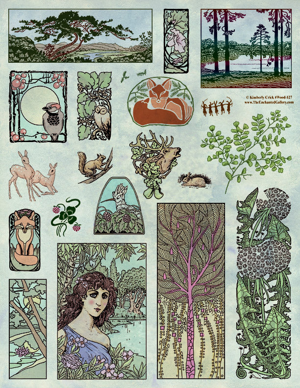 Unmounted Rubber Stamp Set Woodland Forest #Wood-127