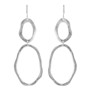 MICHI DOUBLE OPEN HAMMERED OVAL EARRINGS